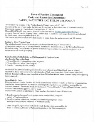 Town of Pomfret Parks and Recreation Department Parks, Facilities and Fields Use Policy